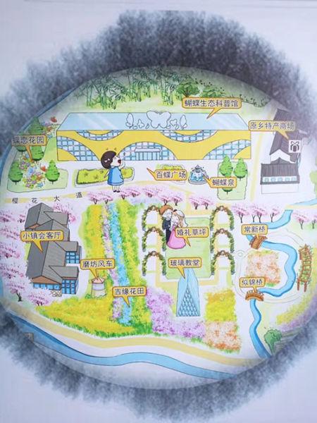原乡小镇手绘地图。胡高摄