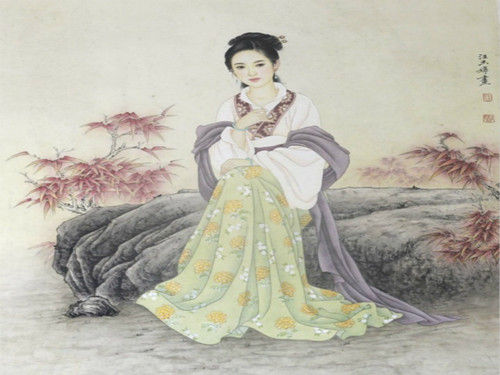 汪玉婷创作的仕女画。开化宣传部提供