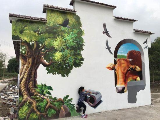 长兴乡间的3D彩绘墙面。长宣