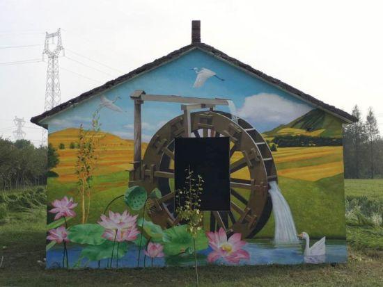 郑家村的3D彩绘墙面。长宣