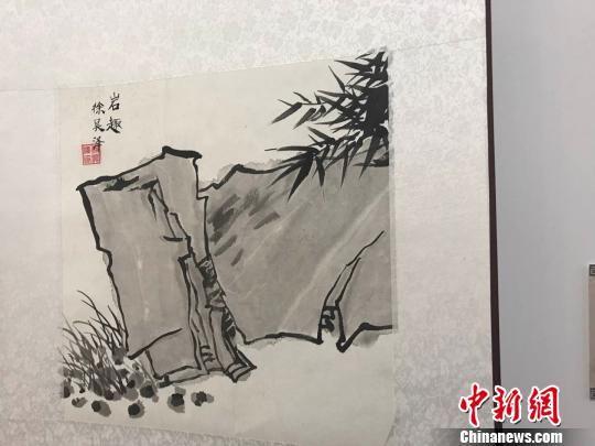 杭州长江实验小学学生徐昊泽临摹的作品《岩趣》。 王题题 摄