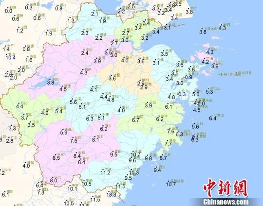 1月8日09时浙江全省气温分布 浙江天气网提供 摄
