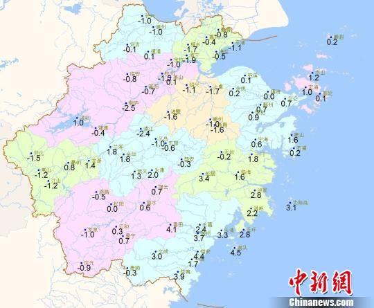 1月8日20时―9日07时浙江最低气温分布图 浙江天气网