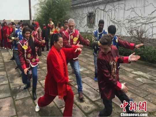 国际友人跟随老师学习太极拳。周禹龙 摄