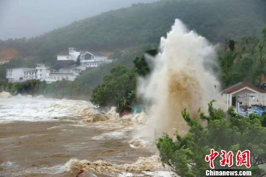 受台风影响,浙江温州苍南渔寮金沙滩海域掀起巨浪。 柯宗清 摄